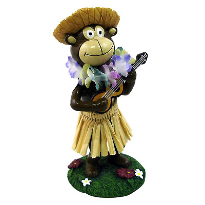 Miniature Dashboard Dolls - Hula Monkey with Straw Hat/インテリア用品/インテリア小物/人形