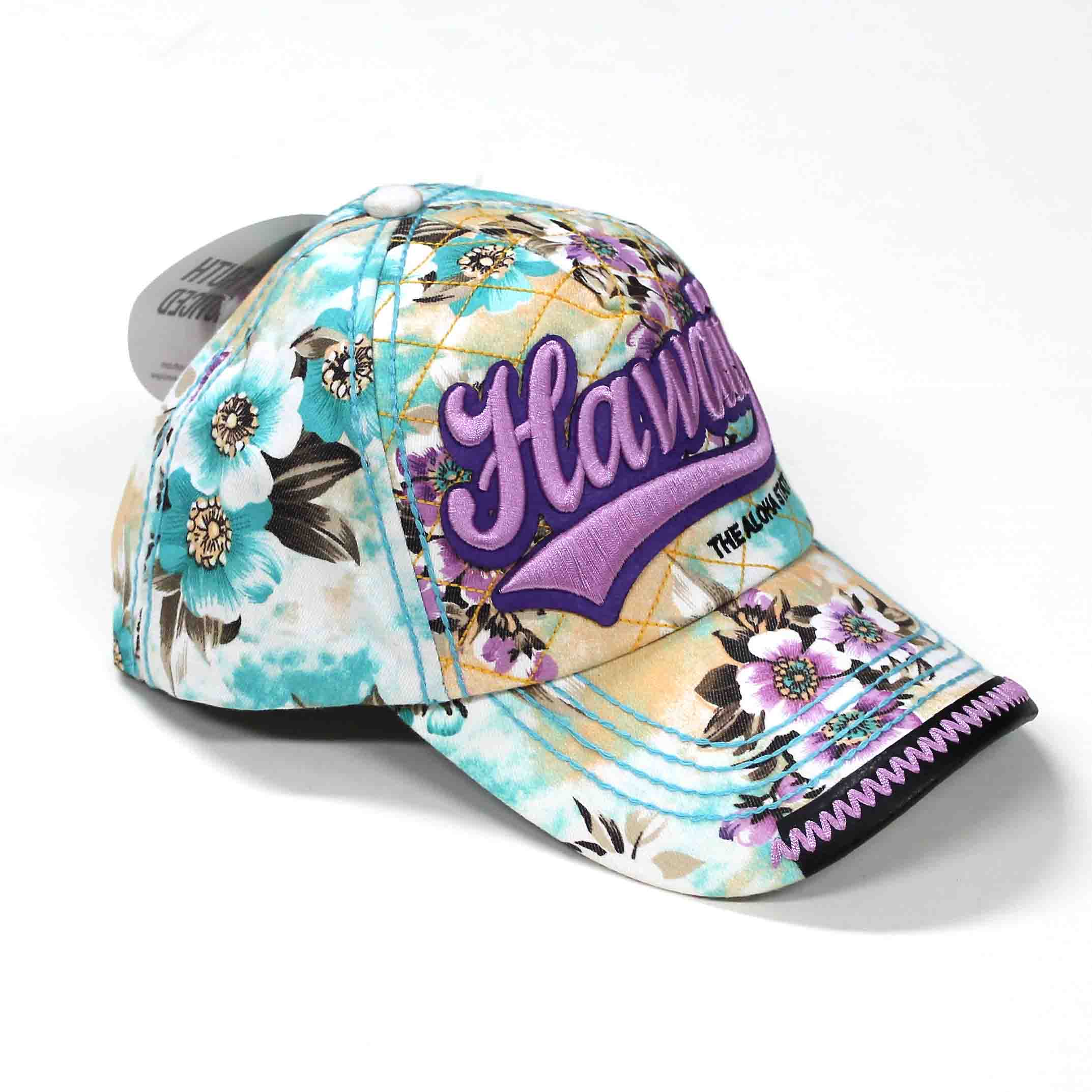 【Robin Ruth Hawaii】 Hawaiian Floral Cap / CHI366-E / Teal & Purple/Tシャツ・カジュアル/帽子/Robin Ruth