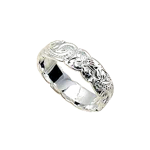 ハワイアンジュエリー/ 【Stering Silver Jewelry】シルバーリングSR Scroll c/o Ring 6mm/SS