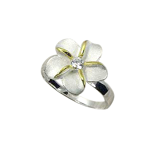 ハワイアンジュエリー/ 【Stering Silver Jewelry】シルバーリングSR Single Flower 2T Ring 15mm  /SY/W